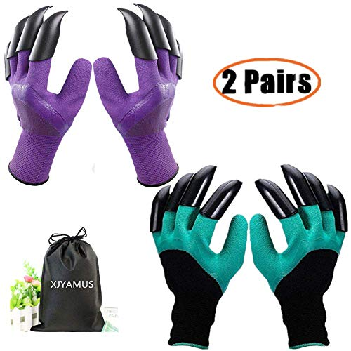 Garden Genie Gloves, Waterproof Garden Gloves with Claw For Digging Planting, Best Gardening Gifts for Women and Men. (Purple-Green)