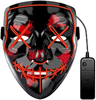 The Purge LED Light Up Full Facewear Mask Smiling Stitched V for Vendetta The Purge Halloween Mask Wire Flash Party Scary ...