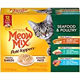 Meow Mix Paté Toppers Wet Cat Food, Seafood & Poultry Variety Pack, 2.75 Ounce Cup (Pack of 12), Meow Mix Pate Toppers Seafood & Poultry Variety Pack Wet Cat Food, 12 Cups
