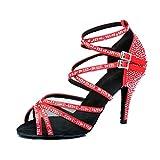 MGM-Joymod - Zapatos de baile para mujer con tachuelas de satén con tachuelas de diamantes de imitación para salsa y tango, estilo latino moderno para boda, color Rojo, talla 36.5 EU