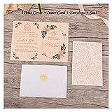 1 unids Elegante Corte Laser Invitaciones de la Boda Tarjeta de Encaje Flora Tarjetas de felicitación Personalizada Cumpleaños Decoración de la Boda Favor (Color : Fifty Sets White)