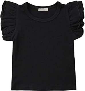 Willow Dance Toddler Baby Girl Basic Plain Ruffle Sleeve Cotton T Shirts Tops Tee Clothes