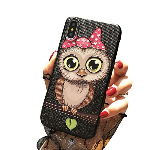 BONTOUJOUR iPhone XR Cover Case Super Cute Fun Embossed Cartoon Animal Pattern Soft TPU Bumper Hard PC Back Cover 360 Degree Protection-Pink Night owl