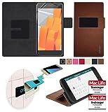 Hülle für Wileyfox Spark X Tasche Cover Hülle Bumper   Braun Leder   Testsieger