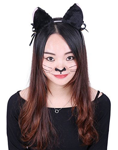 HDE Women's Cat Ear Headband Black Fur with Pink Inserts Ribbon Bow and Jingle Ball Neko Cosplay Costume Headwear Accessory