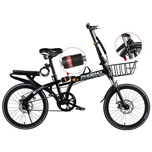 WPOV-A Klappfahrrad, Ultraleichtes Tragbares Herren- Und Damenrad Für Erwachsene 16/20 Zoll Kleines Fahrrad0613-Z(Size:20 Zoll,Color:schwarz)