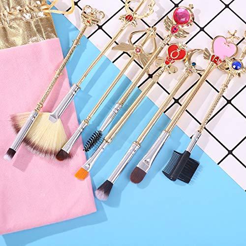 HZD 8Pcs Gold Cardcaptor Sakura Brand Makeup Brushes Set Cosmetic Powder Foundation Eyeshadow Brush Make Up Tool,A