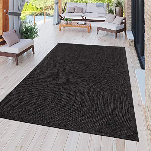 TT Home Tapis Intérieur Extérieur Tapis Cuisine Balcon Terrasse Uni Moderne Noir, Dimension:300x400 cm
