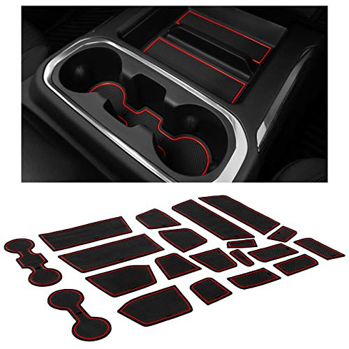 CupHolderHero for Chevy Silverado 1500 and GMC Sierra Accessories 2019-2021 Interior Cup Holder Inserts, Center Console Liner Mats, Door Pocket 24-pc Set (Crew Cab with Bucket Seats) (Red Trim)