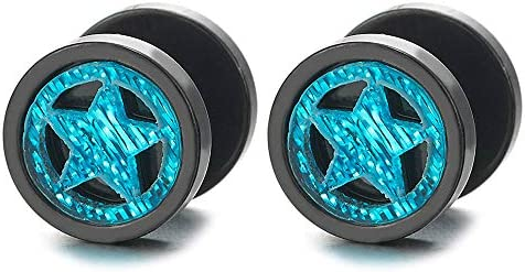 Teal Green Pentagram Star Black Circle Stud Earrings for Men Women Steel Cheater Fake Ear Plugs product image