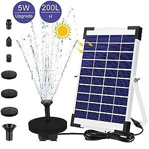 AIMTOP Solar Fuente Bomba, 5W Fuente de Jardín Solar Bomba de Agua Solar, Fuente Flotante Solar on 5 Boquillas y Soporte…