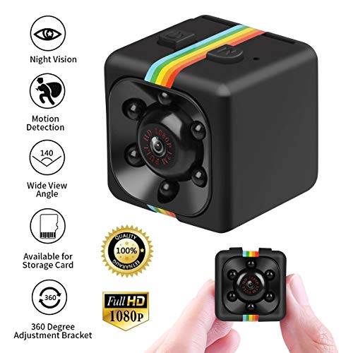 Crazepony Mini Hidden Spy Camera 1080P Night Vision Nanny Cameras FOV120 Portable HD Camcorder Motion Detection Micro Sports Camera Video Recorder for Home Security and Outdoor (Plastic Sheel)