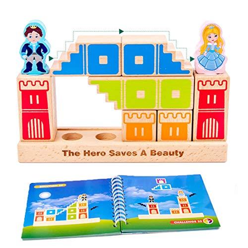 DRAKE18 Juguete Educación niños preescolares Castillo de la Princesa Building Blocks Conjunto de Madera de Montessori niños Juego de Aprendizaje con 48 Nivel Rompecabezas