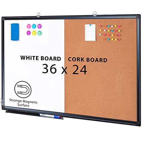 Combination Board, 36 x 24 Magnetic Whiteboard & Cork Board, Dry Erase Board Bulletin Combo Board for Home Office Classroom, Wall Mounted Memo Message Board