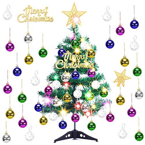 Arbol de Navidad PequeñO, LED Mini Arbol Navidad Luces 60cm Árbol de Navidad de Mesa Decoración de Mesa de Navidad Pequeño Árbol de Navidad Artificial para Decoración