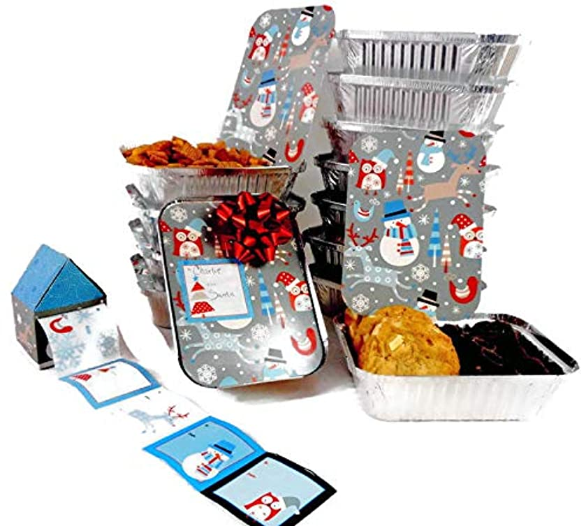 Christmas Foil Containers and Gift Tag Bundle set of 2