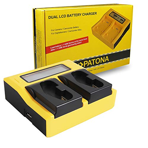 PATONA Dual LCD Ladegerät für LP-E4, LP-E19 Akkus kompatibel mit Canon EOS 1D / 1DS Mark III, 1D Mark IV, 1DX Mark II, 1DX