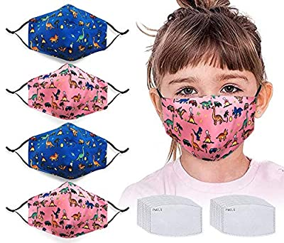 4pcs Face Protector with 20 Activated Carbon Filters Washable Reusable Cute Dinosaur Anti Air Dust Face Bandanas for Kids by NBDIB