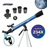 Aomekie Télescope Astronomique pour Enfant Adultes Portable Lunette Astronomique avec Adaptateur Téléphonique 10X Sac à Dos Filtre de Lune Trépied Ajustable et Barlow 3X
