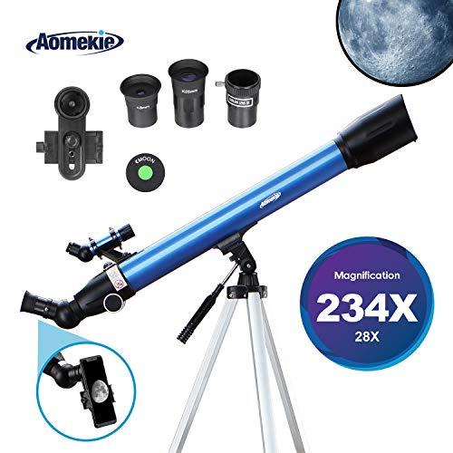 Aomekie Telescopio Astronómico para Niños Principiante 60/700 Astronomico Refractor con Trípode Adaptador para Teléfono Ffiltro Lunar para observación de Estrellas y observación de Aves (F70060MM)