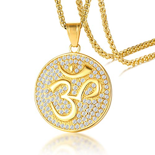 Cupimatch Men's Necklace OM Sign Pendant Gold Stainless Steel with Rhinestone Casual Chain, Gold, 23.62 inches (60 cm) Gold2