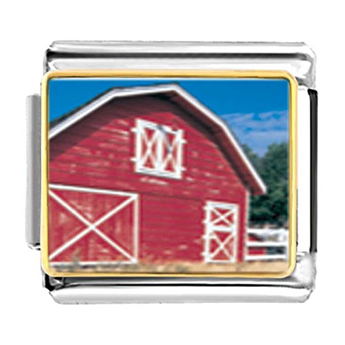 GiftJewelryShop Gold Plated Red Barn Bracelet Link Photo Italian Charms