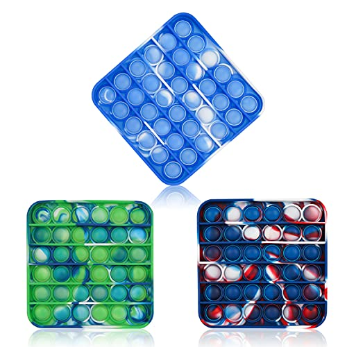 Nuaner 3pcs Tie-dye Push Bubble Sensory Fidget Toy, Squeeze Sensory Fidget Toy, a Loud Side and a Quiet Side , Autism ADHD Special Needs Stress Reliever Silicone Squeeze Toy, Square