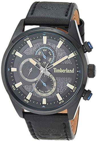 Timberland Men's Ridgeview Stainless Steel Quartz Watch with Leather Strap, Black, 24 (Model: TBL15953JS01)