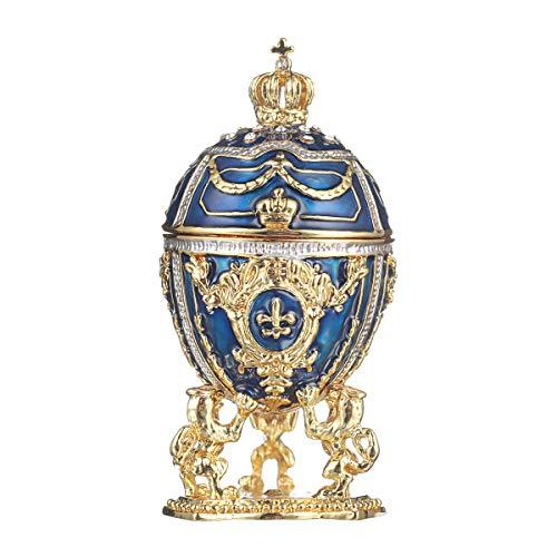 danila-souvenirs Russische Fabergé-Stil Ei/Schmuckkästchen mit Löwen & russischen Kaiserkrone 7,5 cm blau