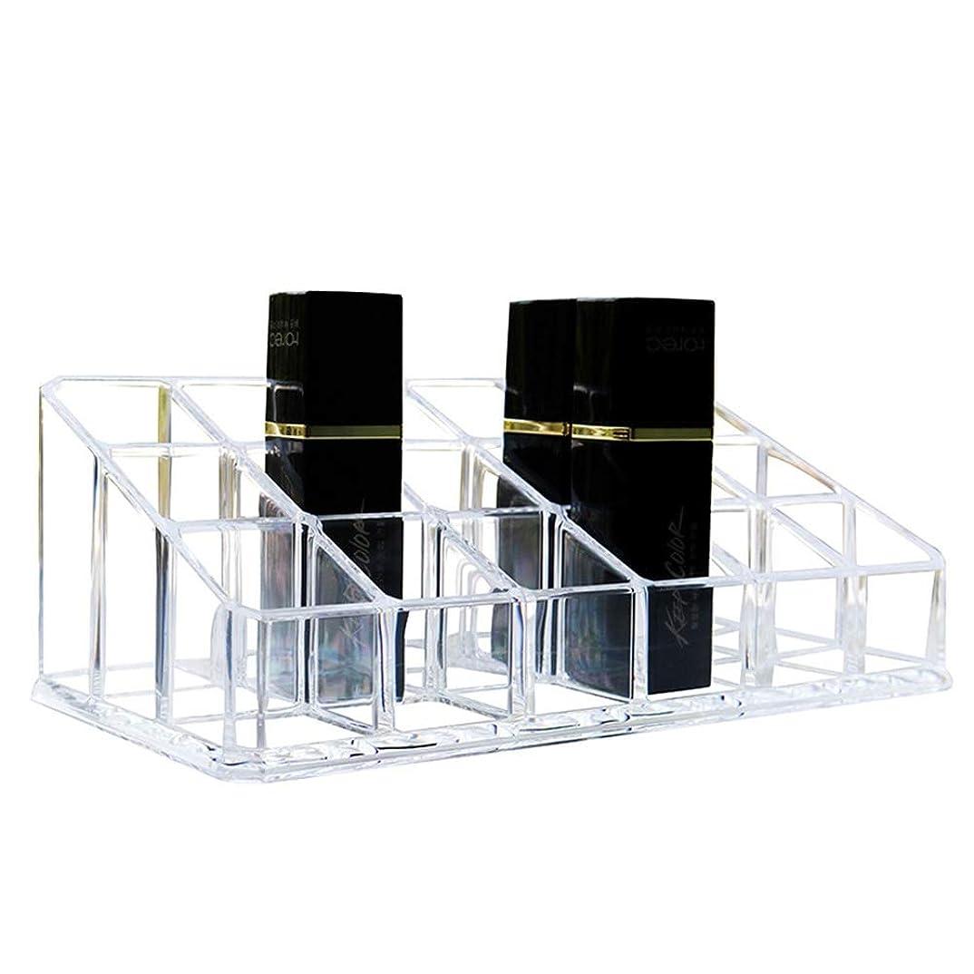 イディオム検出する不潔整理簡単 シンプルな口紅収納クリア18コンパートメント化粧口紅化粧品ディスプレイスタンドラックホルダーオーガナイザー (Color : Clear, Size : 17.4*9*6.3CM)