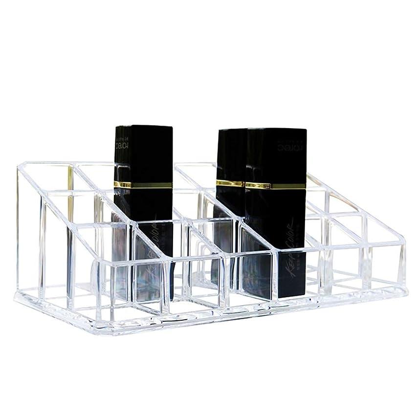 瞳株式会社食べる整理簡単 シンプルな口紅収納クリア18コンパートメント化粧口紅化粧品ディスプレイスタンドラックホルダーオーガナイザー (Color : Clear, Size : 17.4*9*6.3CM)