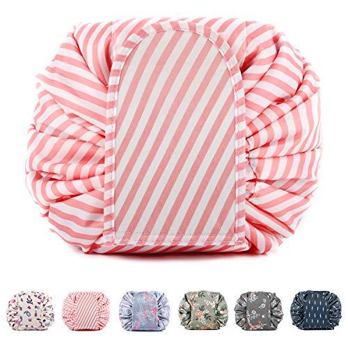 Kosmetikbeutel Kordelzug groß Make up Tasche Makeup Bag Zippy Tasche Kosmetik beutel Faule Kosmetiktasche für kinder Damen Mädchen (Rosa Streifen)