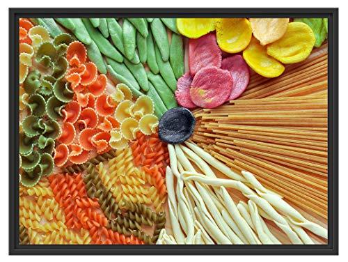 Picati Zusammenstellung von bunten Nudeln im Schattenfugen Bilderrahmen/Format: 80x60 im Schattenfugen-Bilderrahmen/Kunstdruck auf hochwertigem Galeriekarton/hochwertige Leinwandbild Alternative