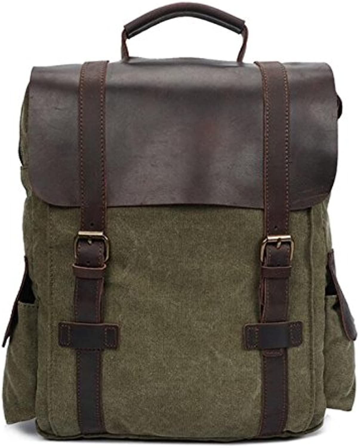 ZHANGOR Vintage Canvas With Leather Backpack, Notebook Backpack School Travel Hiking Backpack, Male And Femalezhanfor,Green