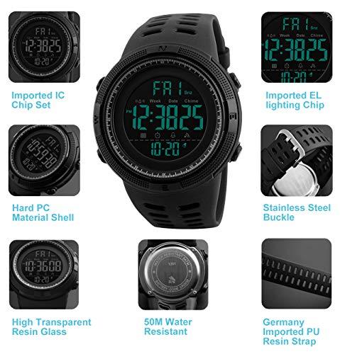 Herren Digital Sport Uhren – Outdoor wasserdichte Armbanduhr mit Wecker Chronograph und Countdown Uhr, LED Licht Gummi Schwarz große Anzeige Digitaluhrenfür Herren - 5