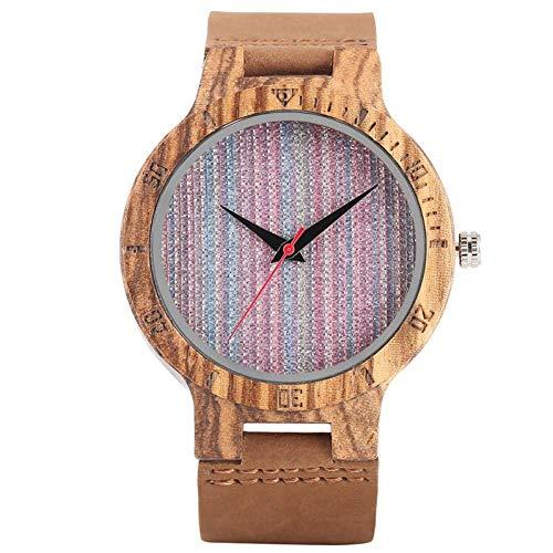 DZNOY Reloj de Madera Mujeres Elegantes Reloj de Pulsera de bambú Rainbow Color Tela Dial Correa de Cuero Sweet Ladies Girls Reloj de Madera Reloj Reloj de Bolsillo