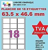 100 A4 de hoja de etiqueta de papel etiqueta adhesiva 18 63,5 x 46,6 mm para las impresoras de chorro de tinta y láser