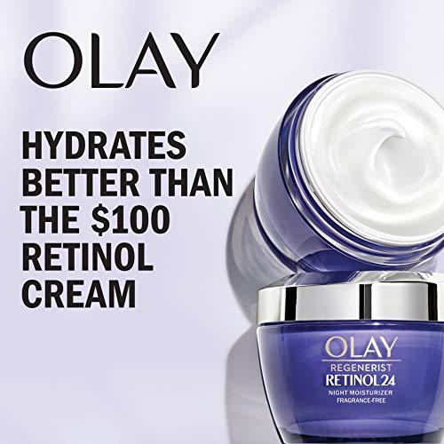 51YAU ikvSL - Olay Regenerist Retinol Moisturizer, Retinol 24 Night Face Cream, 1.7oz + Whip Face Moisturizer Travel/Trial Size Bundle