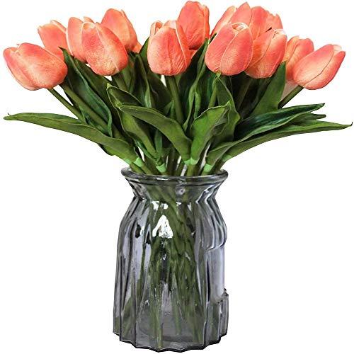 yueyue947 / Tulipanes Artificiales 10 Cabezas Mini Toque Real Flores Artificiales Tulipán Falso para la decoración del hogar Fiesta de Boda DIY Ramo de Flores Gradiente Coral