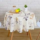 N/X Mantel Redondo Impermeable Manteles Impresos Mantel de decoración de Estilo Rural Mantel de Suministros de Hotel Mantel