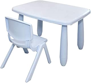 Yamyannie-Home Toddler Children Kids Plastic Table And Chairs Set For Study Activity Indoor Outdoor Use  Color Blue  Size 72 5x57x47 51X24 5X25 5cm