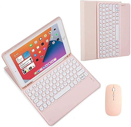ZKAIAI Keyboard Case for IPad Pro 11 2018,Built-in Pencil Holder, Soft TPU Back Protective Cover,Magnetically Detachable Wireless Bluetooth Round Hat Keyboard,With Mouse,Pink