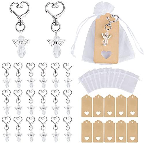 CLTPY - Portachiavi con angelo custode, 20 pezzi + ciondolo in carta kraft con sacchetto in organza, per bomboniere, battesimo, ringraziamento, comunione