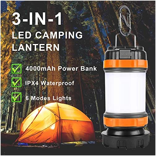 POLENTAT Emergency Lights for Home Power Failure, Rechargeable LED Portable Camping Lantern/Flashlight 4000mAh Power… 4