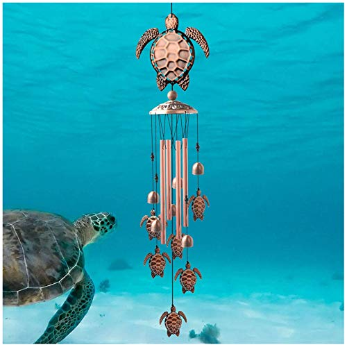 Owl Wind Chimes, Wind Chimes Outdoor, Copper Wind Chime, Memorial Wind Chimes, Wind Bell, Garden Yard Decor, Garden Gifts for Dad Mom (Tortoise)