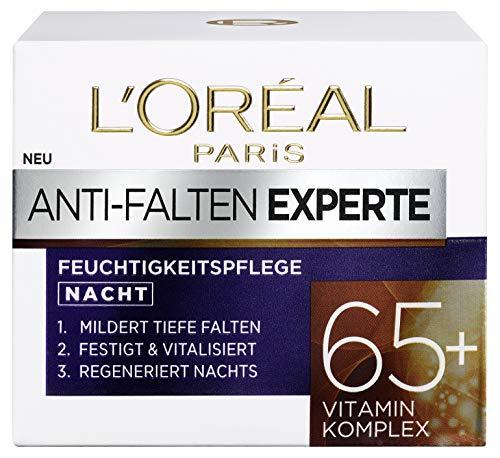 L\'Oréal Paris Anti-Falten Experte Nachtcreme 65+, Anti-Age Gesichtscreme mit Vitamin Komplex, mildert tiefere Falten, regeneriert die Haut tiefenwirksam über Nacht, 50ml