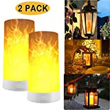 2 Stück LED Flamme Wirkung Licht, Wiederaufladbar Tischleuchte Flackernde Flamme Glühbirnen Nachtlichter, Tischlampen für Heim/Hotel/Bardekoration (2 Pack)