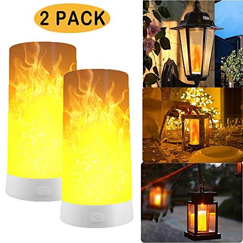 2 Stück LED Flamme Wirkung Licht mit Fernbedienung, Wiederaufladbar Tischleuchte Flackernde Flamme Glühbirnen Nachtlichter, Tischlampen für Heim/Hotel/Bardekoration (2 Pack)