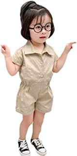 neveraway Baby Girl Short Sleeve Cotton Summer One-Piece Romper Harem Pants
