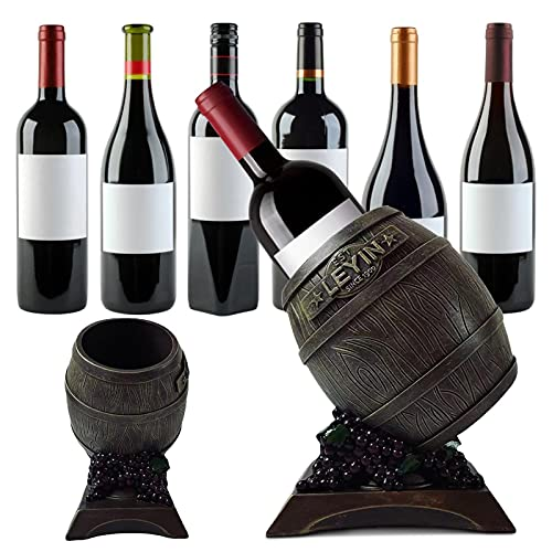 bozitian Soporte de botella de vino de resina, creativo vintage para almacenar botellas de vino para amantes del vino 7.87 x 7.87 x 9.84 pulgadas